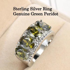 Sterling Silver & Genuine Green Peridot Ring